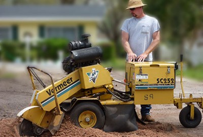 Tom Grinding a Stump in a Homeowner's Yard